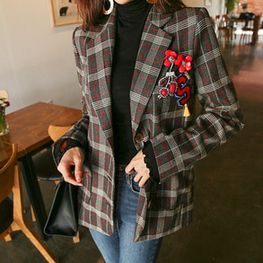 Dabagirl Notched Collar Check Jacket